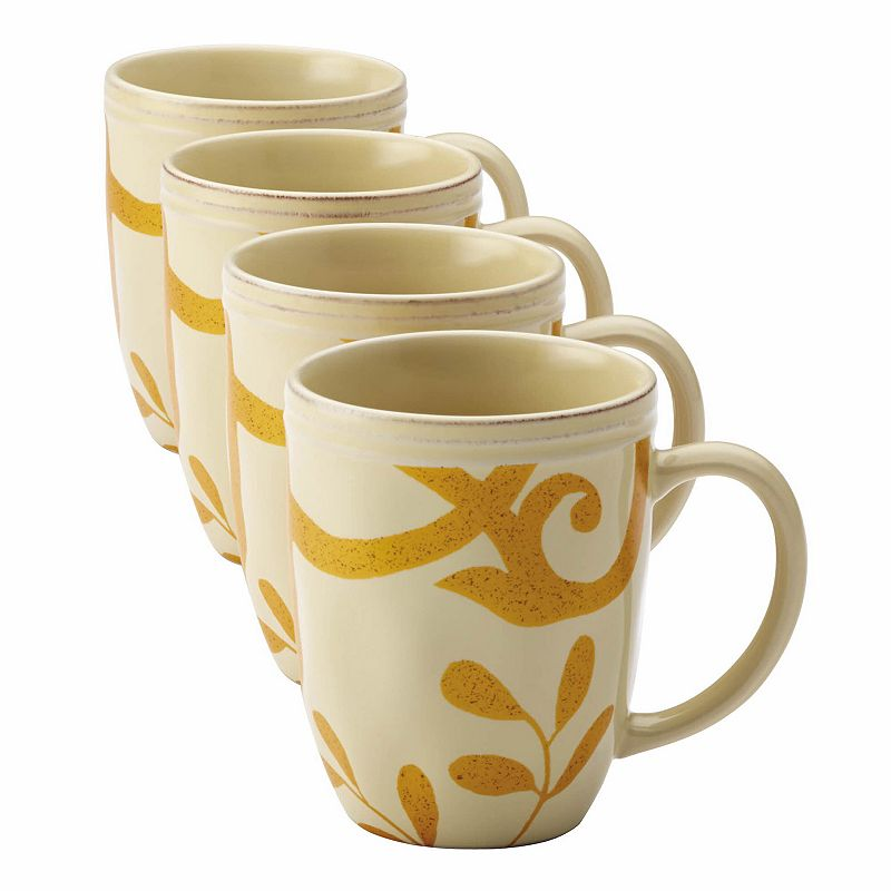 Rachael Ray Gold Scroll 4-pc. Mug Set