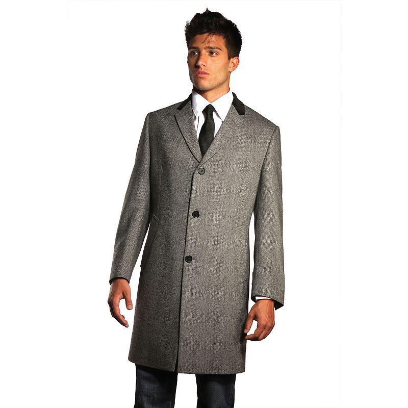 Men's Jean-Paul Germain 45-inch Herringbone Wool-Blend Chesterfield Overcoat