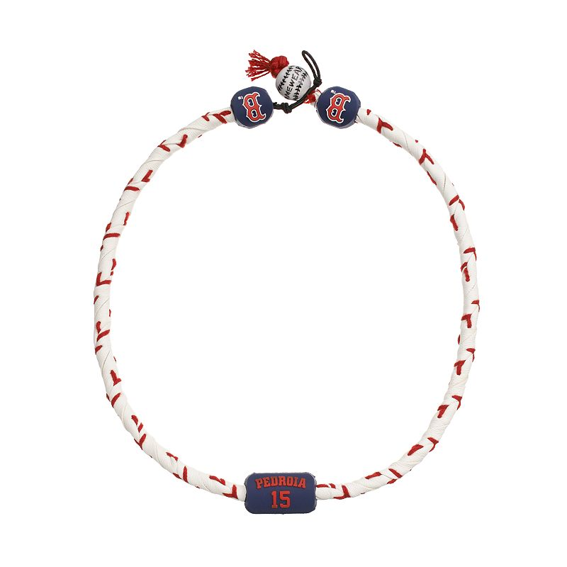 GameWear Boston Red Sox Dustin Pedroia Frozen Leather Baseball Necklace