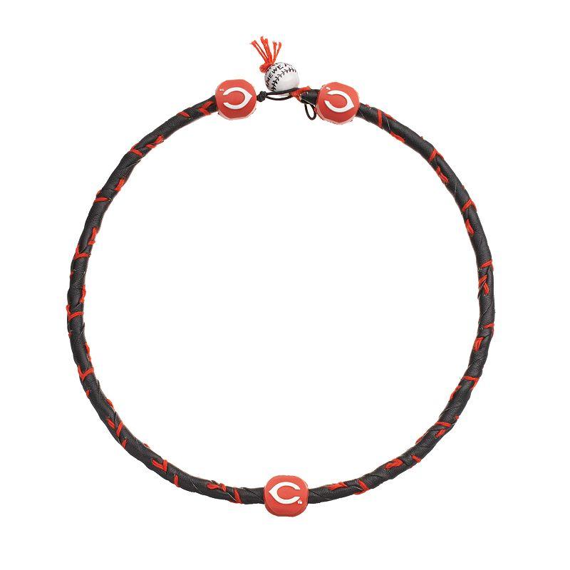 GameWear Frozen Rope Cincinnati Reds Leather Baseball Necklace