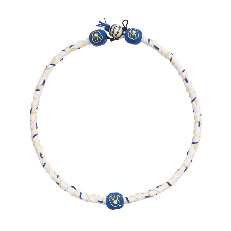 GameWear Frozen Rope Milwaukee Brewers Leather Baseball Necklace