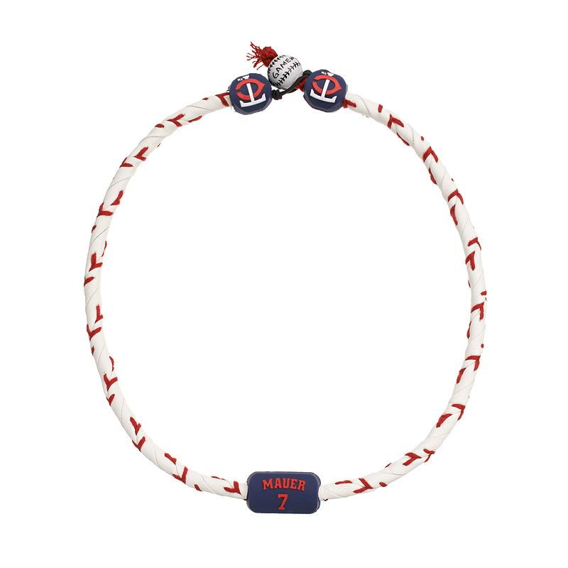 GameWear Minnesota Twins Joe Mauer Frozen Leather Baseball Necklace