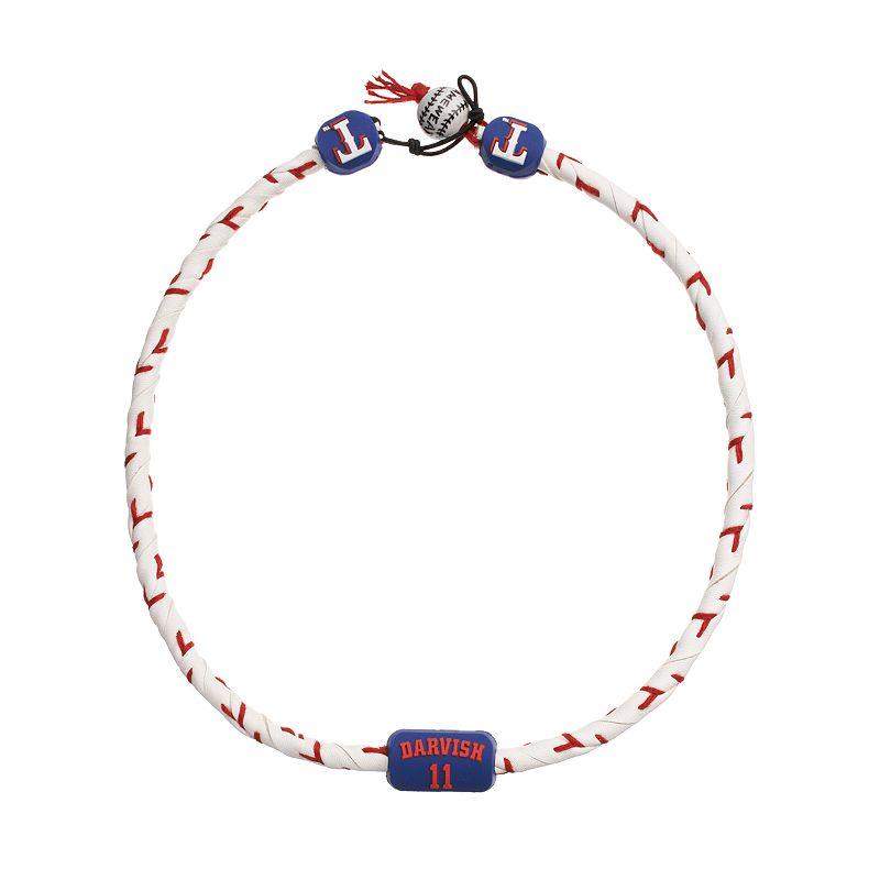 GameWear Texas Rangers Yu Darvish Frozen Leather Baseball Necklace
