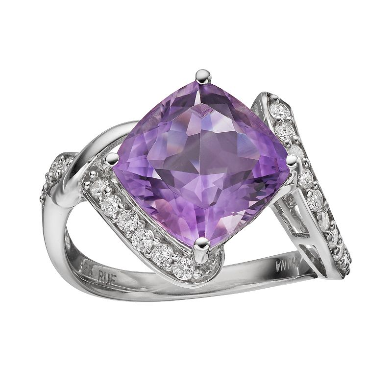 Amethyst & Cubic Zirconia Sterling Silver Bypass Ring