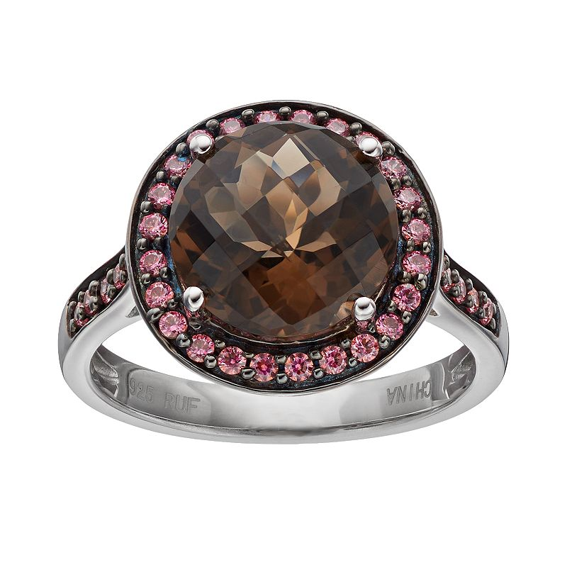 Lab-Created Brown Quartz & Cubic Zirconia Sterling Silver Halo Ring