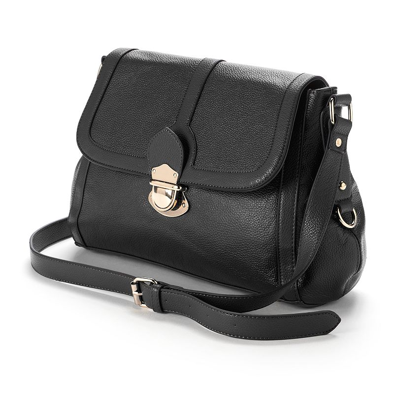 R&R Leather Flap Front Leather Shoulder Bag