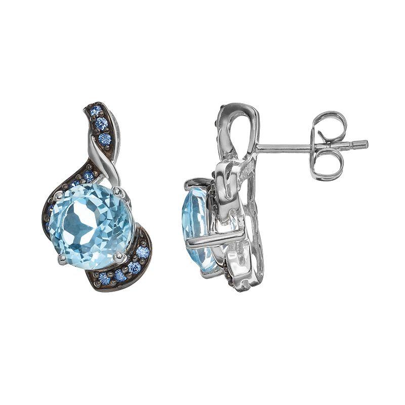 Blue Topaz & Blue Cubic Zirconia Sterling Silver Swirl Stud Earrings