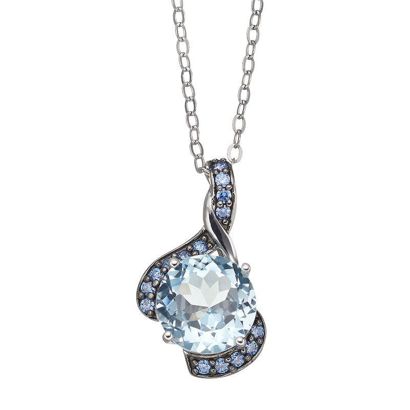 Blue Topaz & Blue Cubic Zirconia Sterling Silver Swirl Pendant Necklace