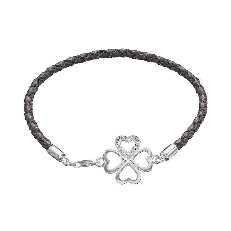 Crystal Sterling Silver Four Leaf Clover Link Woven Leather Bracelet