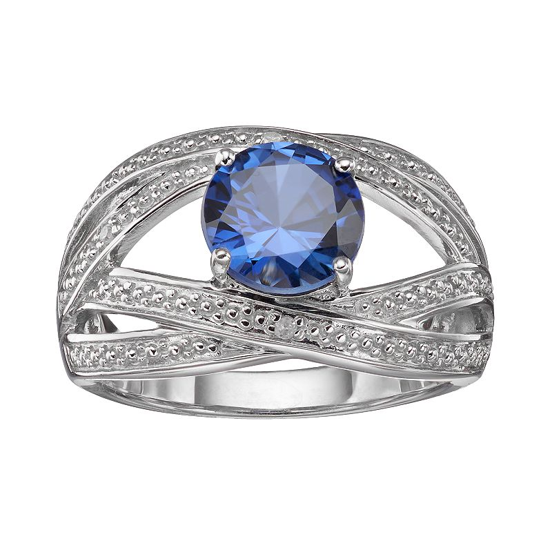 Lab-Created Sapphire & Diamond Accent Sterling Silver Crisscross Ring