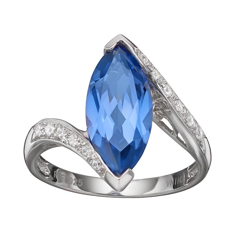 Simulated Tanzanite & Cubic Zirconia Sterling Silver Marquise Bypass Ring
