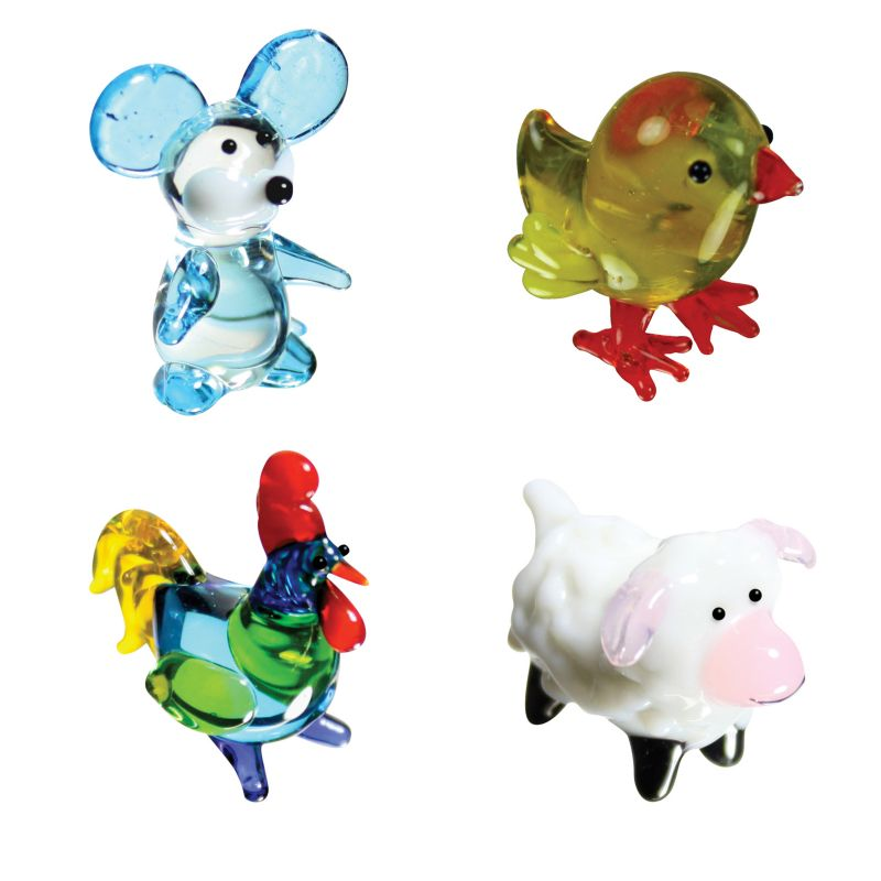 BrainStorm Looking Glass Miniature Glass Figurines, 4-Pack, Mouse/Chickee/Rooster/Lamb 95814273