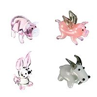 Looking Glass 4-pk. Pig, Flying Pig, Rabbit & Goat Mini Figurines