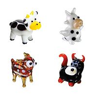Looking Glass 4-pk. Cow, Dairy Cow, Deer & Bull Mini Figurines
