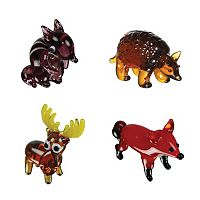 Looking Glass 4-pk. Chipmunk, Armadillo, Moose & Fox Mini Figurines