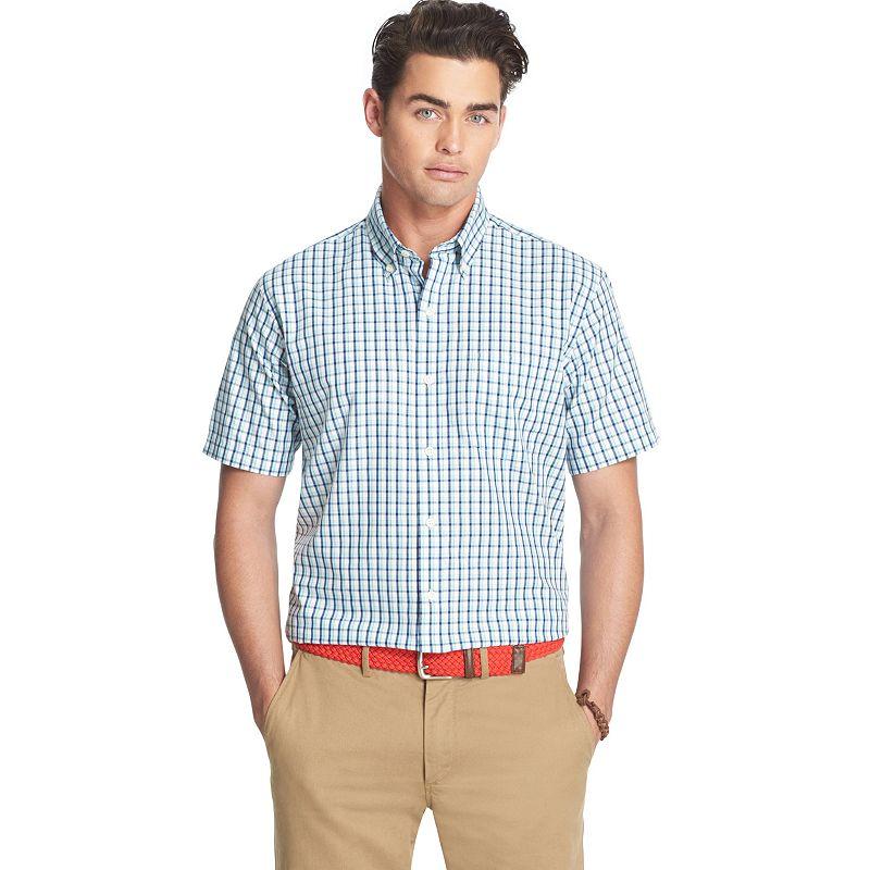Men's IZOD Classic-Fit Poplin Plaid Casual Button-Down Shirt