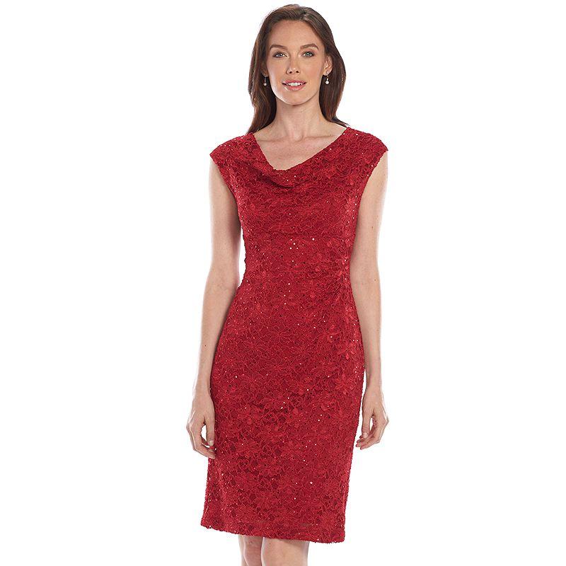 Connected Apparel Sequined Drapeneck Lace Dress - Women's