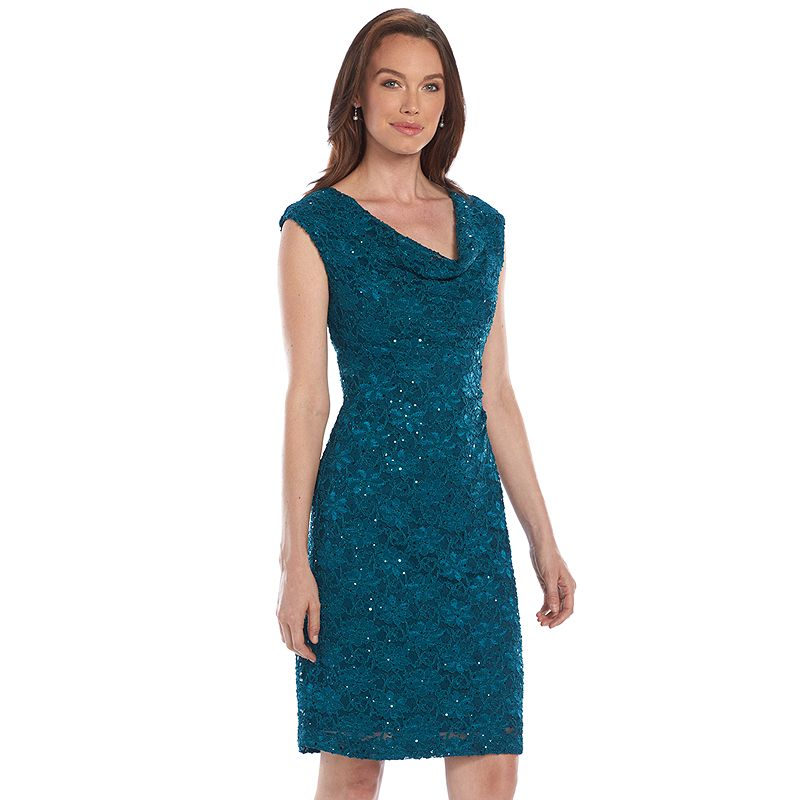 Connected Apparel Sequined Drapeneck Lace Dress - Women's