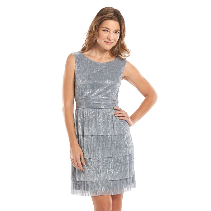Connected Apparel Tiered Metallic Dress - Women's