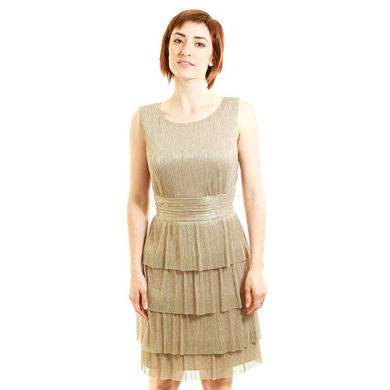 Connected Apparel Tiered Metallic Dress - Women's