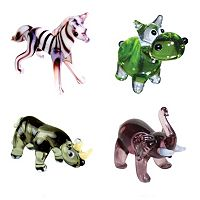 Looking Glass 4-pk. Zebra, Hippo, Rhino & Elephant Mini Figurines