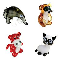 Looking Glass 4-pk. Ant Eater, Lemur, Baboon & Siamese Cat Mini Figurines