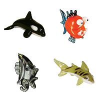 Looking Glass 4-pk. Orca, Piranha, Angel Fish & Tiger Shark Mini Figurines