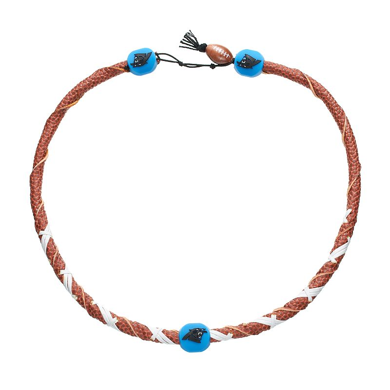 GameWear Frozen Rope Carolina Panthers Leather Football Necklace