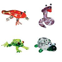 Looking Glass 4-pk. Gecko, Cobra, Dart Frog & Tortoise Mini Figurines