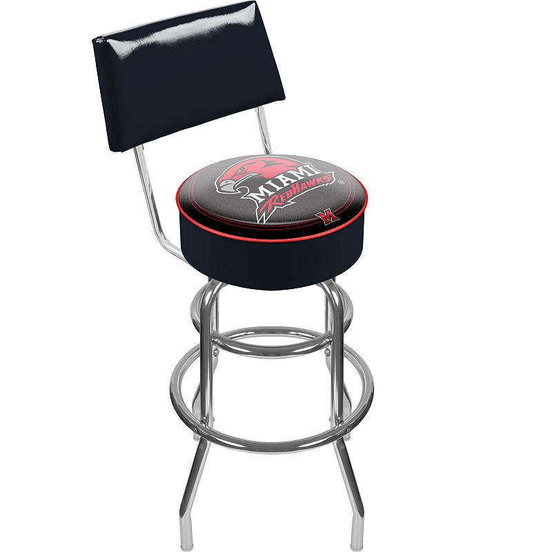 Miami RedHawks Padded Swivel Bar Stool with Back