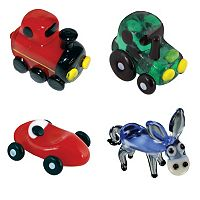 Looking Glass 4-pk. Train, Tractor, Race Car & Donkey Mini Figurines