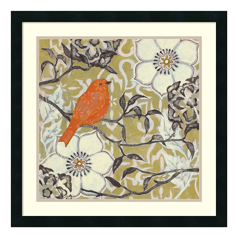 'Greenwood I'' Bird and Floral Framed Wall Art
