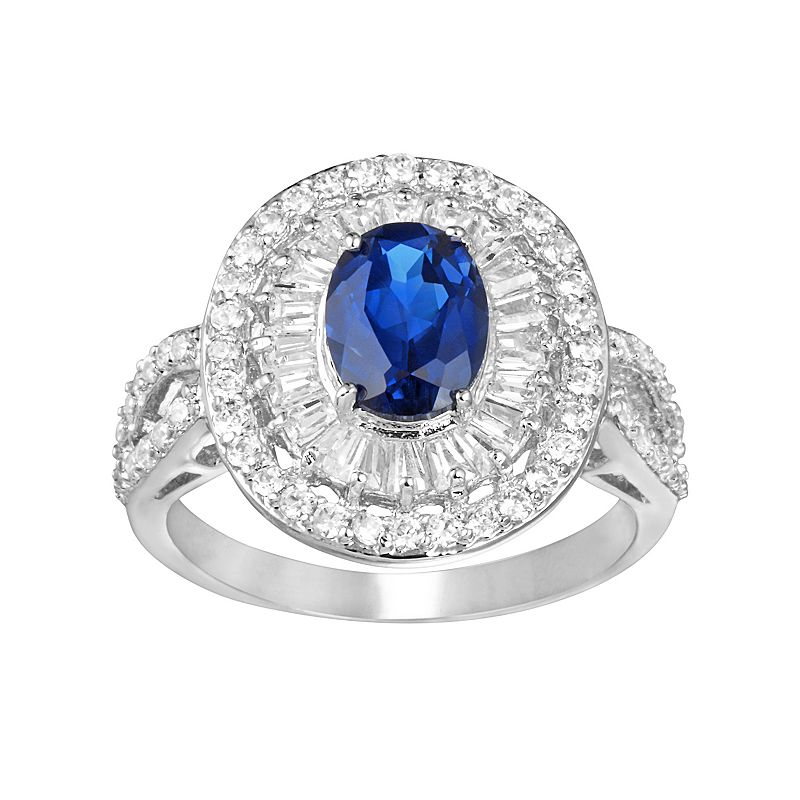 Sophie Miller Lab-Created Sapphire and Cubic Zirconia Sterling Silver Oval Halo Ring
