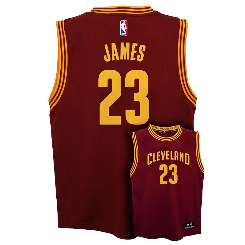 Boys 8-20 adidas Cleveland Cavaliers LeBron James Wine NBA Replica Jersey