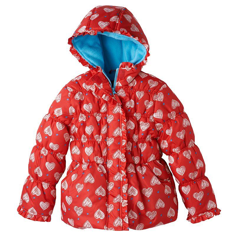 Girls 4-6x Pink Platinum Heart Polka-Dot Puffer Jacket