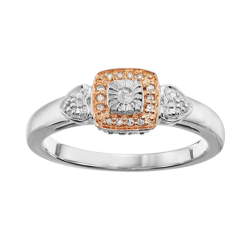 Blush Collection Diamond Accent Sterling Silver Two Tone Square Halo Ring