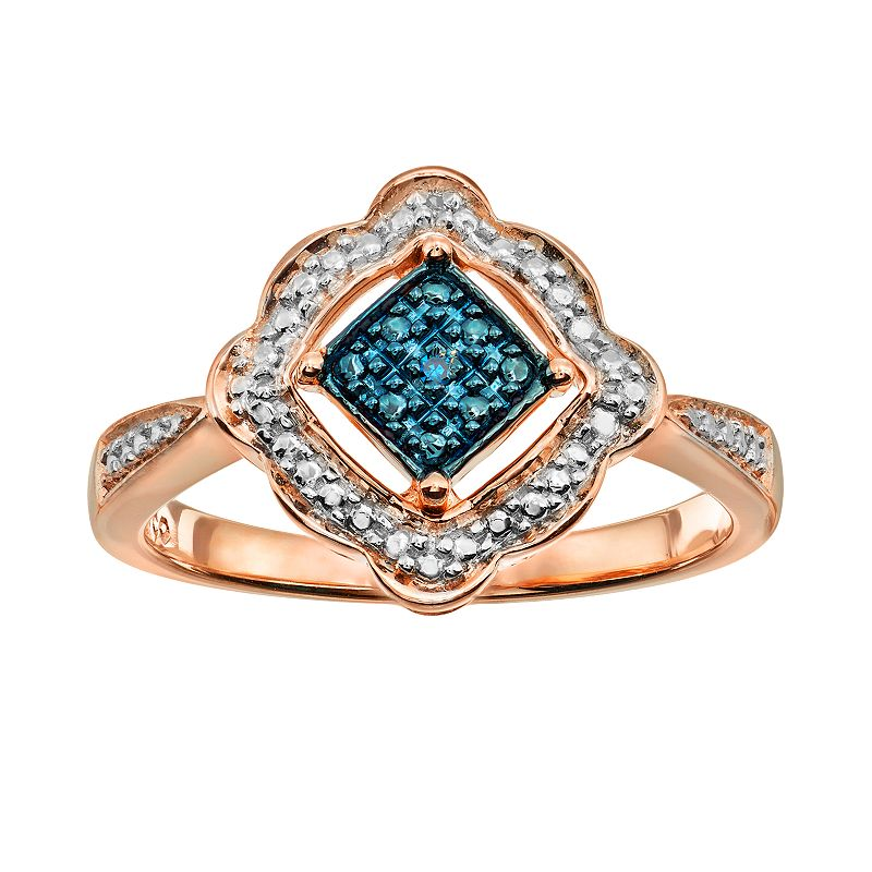 Blush Collection Blue & White Diamond Accent Pink Rhodium-Plated Sterling Silver Ring