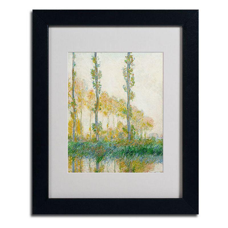 Trademark Fine Art 20 X 16 the Three Trees Autumn Framed Canvas Wall Art by Claude Monet Black