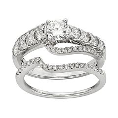 IGL Certified Diamond Curve Engagement Ring Set in 14k White Gold (1 Carat T.W.) by
