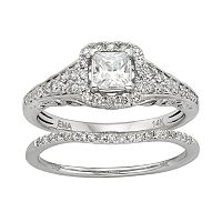 IGL Certified Diamond Square Halo Engagement Ring Set in 14k White Gold (1 Carat T.W.)