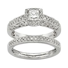 IGL Certified Diamond Square Halo Engagement Ring Set in 14k White Gold (1 Carat T.W.) by