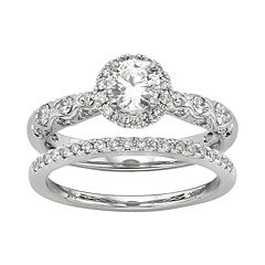 IGL Certified Diamond Halo Engagement Ring Set in 14k White Gold (1 Carat T.W.) by
