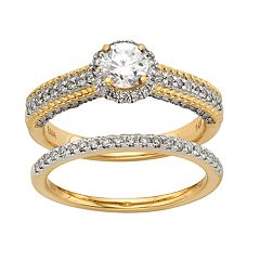 IGL Certified Diamond Halo Engagement Ring Set in 14k Gold (1 Carat T.W.) by