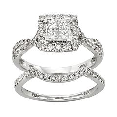 IGL Certified Diamond Crisscross Square Halo Engagement Ring Set in 14k White Gold (1 Carat T.W.) by