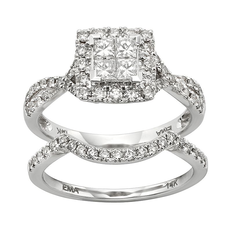 IGL Certified Diamond Crisscross Square Halo Engagement Ring Set in 14k White Gold (1 Carat T.W.)