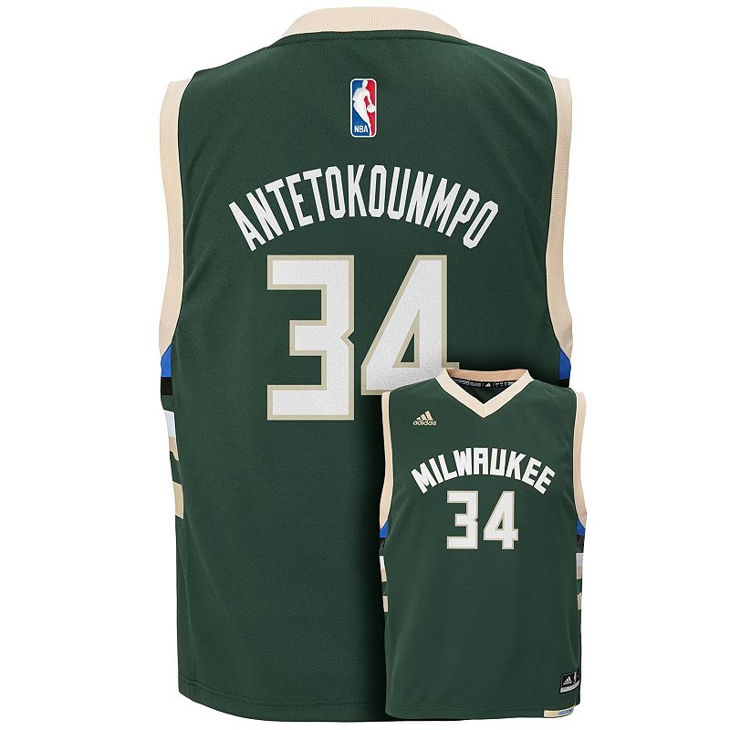 adidas Milwaukee Bucks Giannis Antetokounmpo Replica Jersey - Boys 8-20