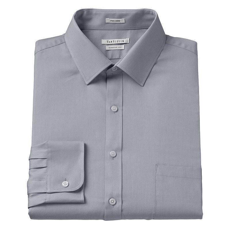 Men 39 s van heusen classic fit pincord wrinkle resistant for Van heusen men s regular fit pincord dress shirt