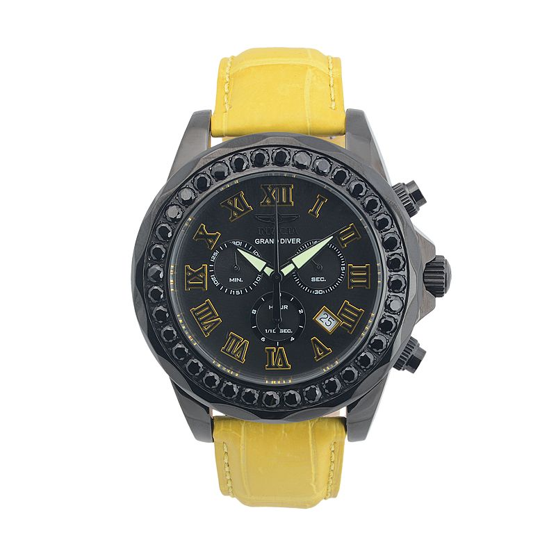 Invicta Men's Pro Diver Leather Chronograph Watch