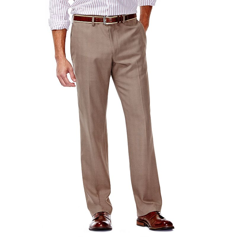Men's Haggar® Plaid Slim-Fit Core Comfort Waistband Flat-Front Pants