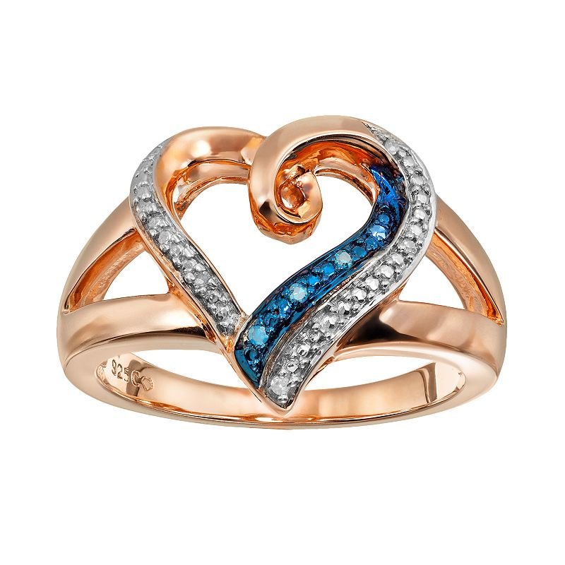 Blush Collection Blue & White Diamond Accent Pink Rhodium-Plated Sterling Silver Heart Ring